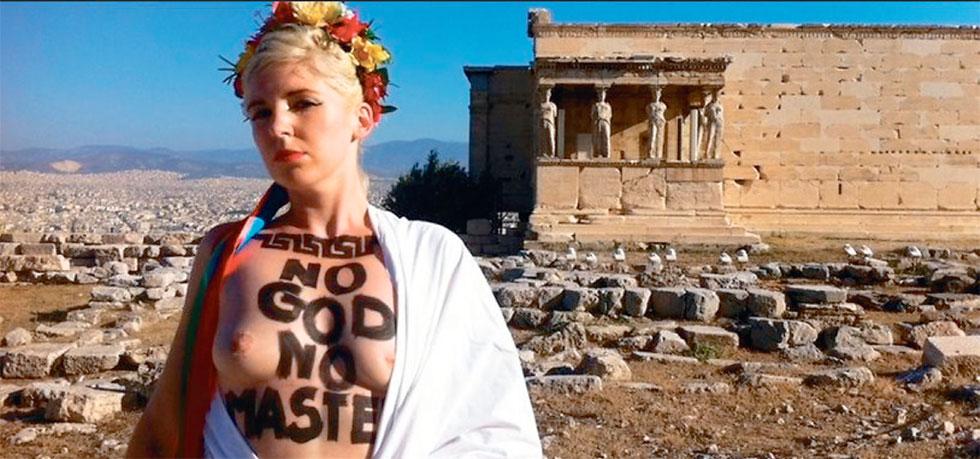 Η γυμνόστηθη Καρυάτιδα των Femen στην Ακρόπολη