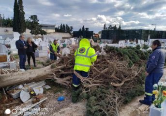 Καταστροφές λόγω ανέμου στο κοιμητήριο της Βάρης